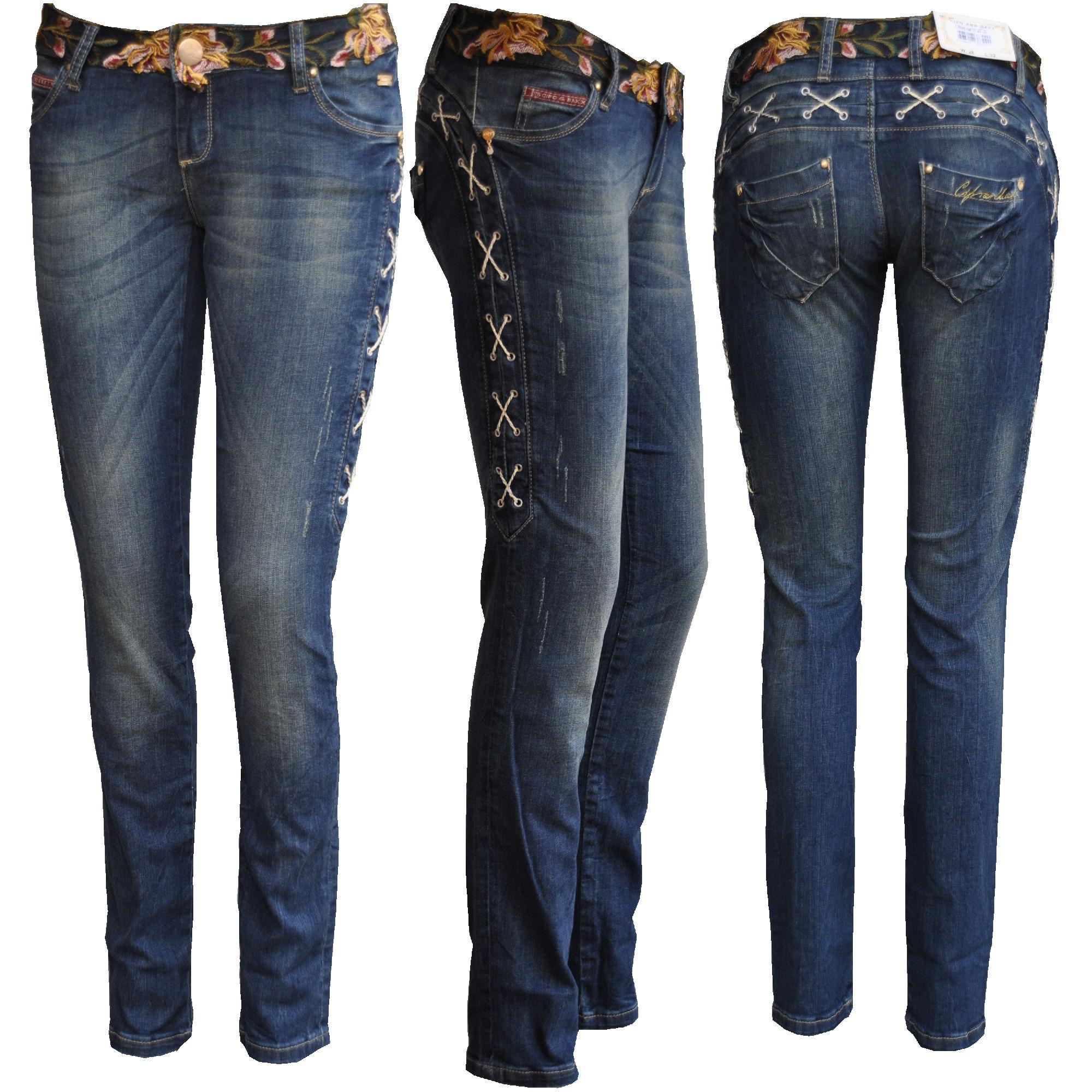 cipo baxx damen jeans hose blau mit stick cbw470 neu ebay. Black Bedroom Furniture Sets. Home Design Ideas